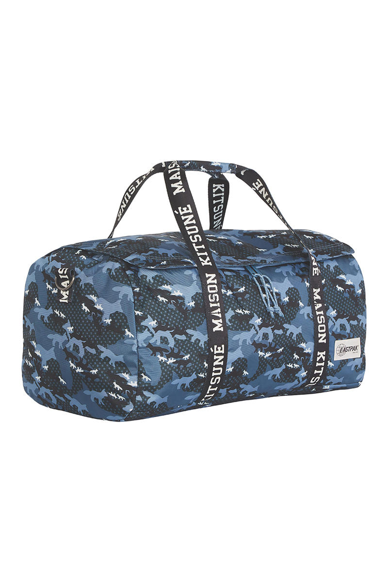 maison Kitsuné kitsune eastpak desert fox camouflage print pattern collab bags drop release date collection backpack tote pouch duffel november 26 2018 december 1