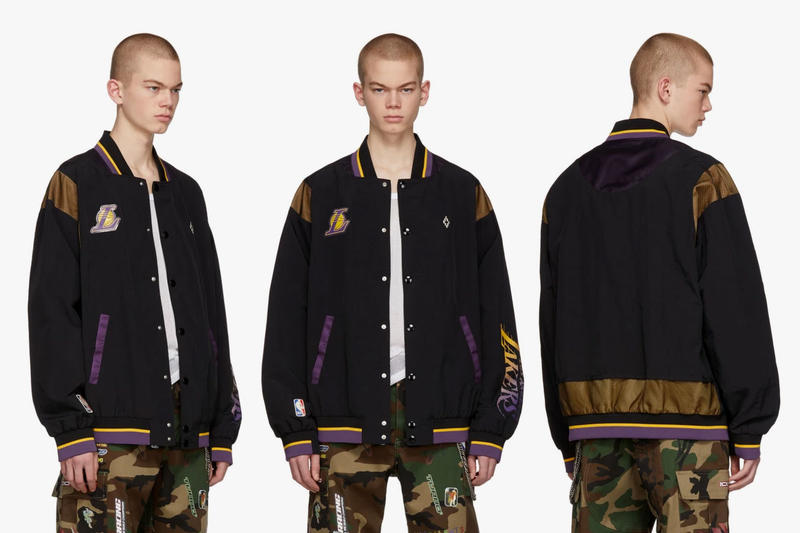 Marcelo Burlon County Of Milan NBA Edition Lakers Jacket black yellow purple varsity Release info Date Los Angeles