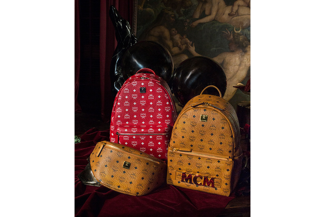 MCM A Feast for Your Eyes Holiday Campaign Video  backpacks accessories grey red black soft pink champagne cognac studs Stark Visetos