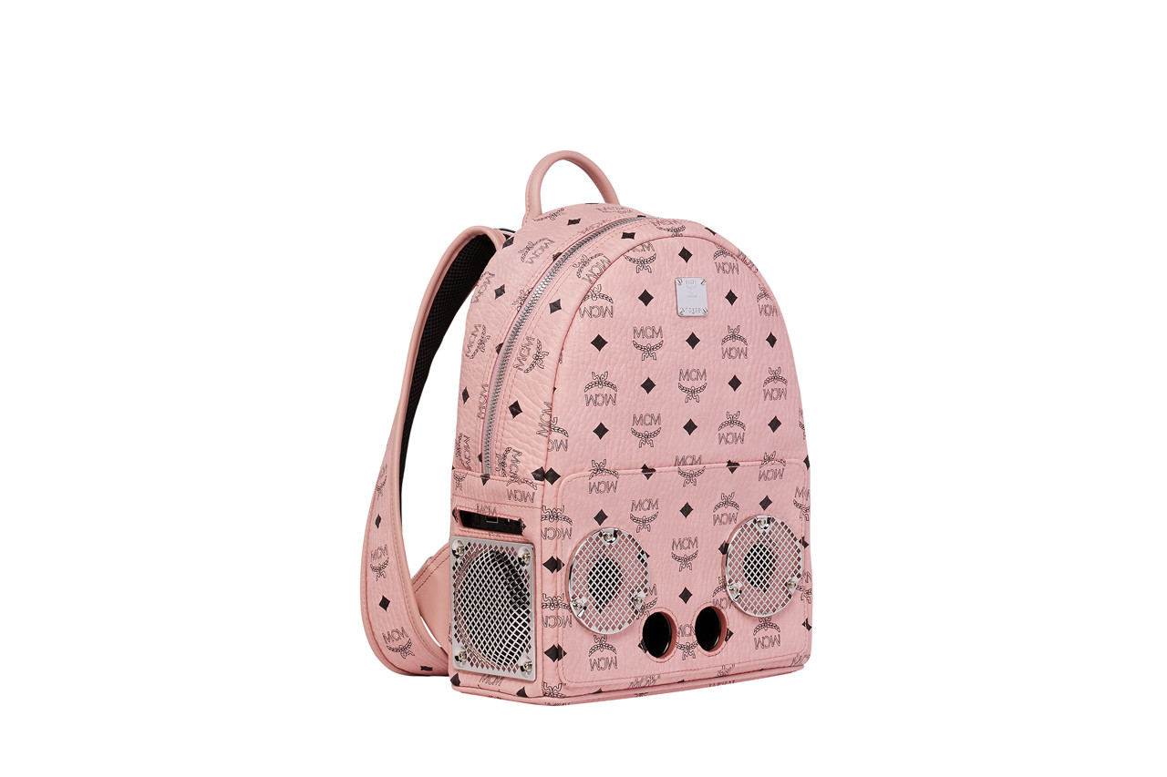 MCM & Wizpak 2018 Holiday Collection backpacks accessories grey red black soft pink champagne cognac studs Stark Visetos