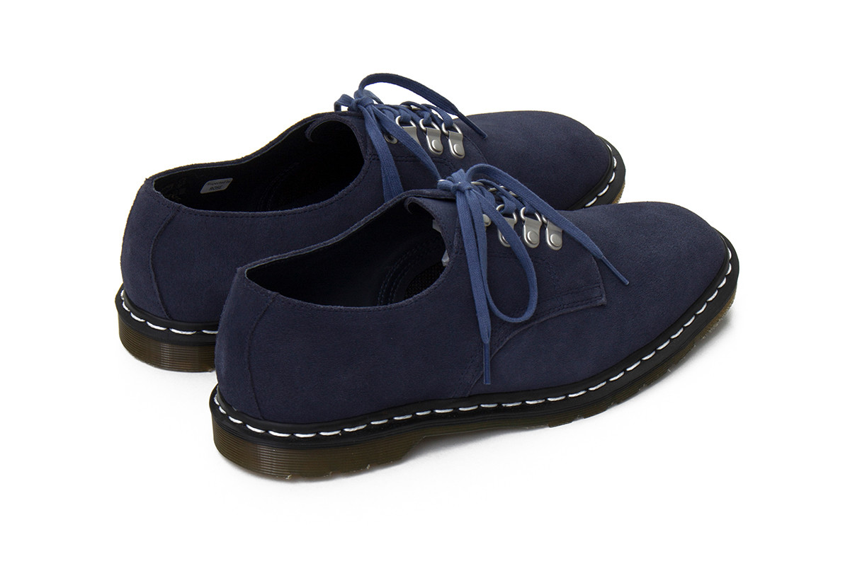 nanamica Dr. Martens Plymouth MIE Officer release black suede upper navy brown