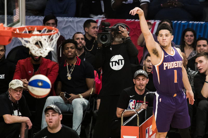 NBA Signs Gambling Data Deal sports betting gambling entertainment in game real time devin booker Phoenix Suns money ball JBL Three 3 Point shootout Contest State Farm All-Star Saturday Night Weekend Staples Center Los Angeles California February 17 2018