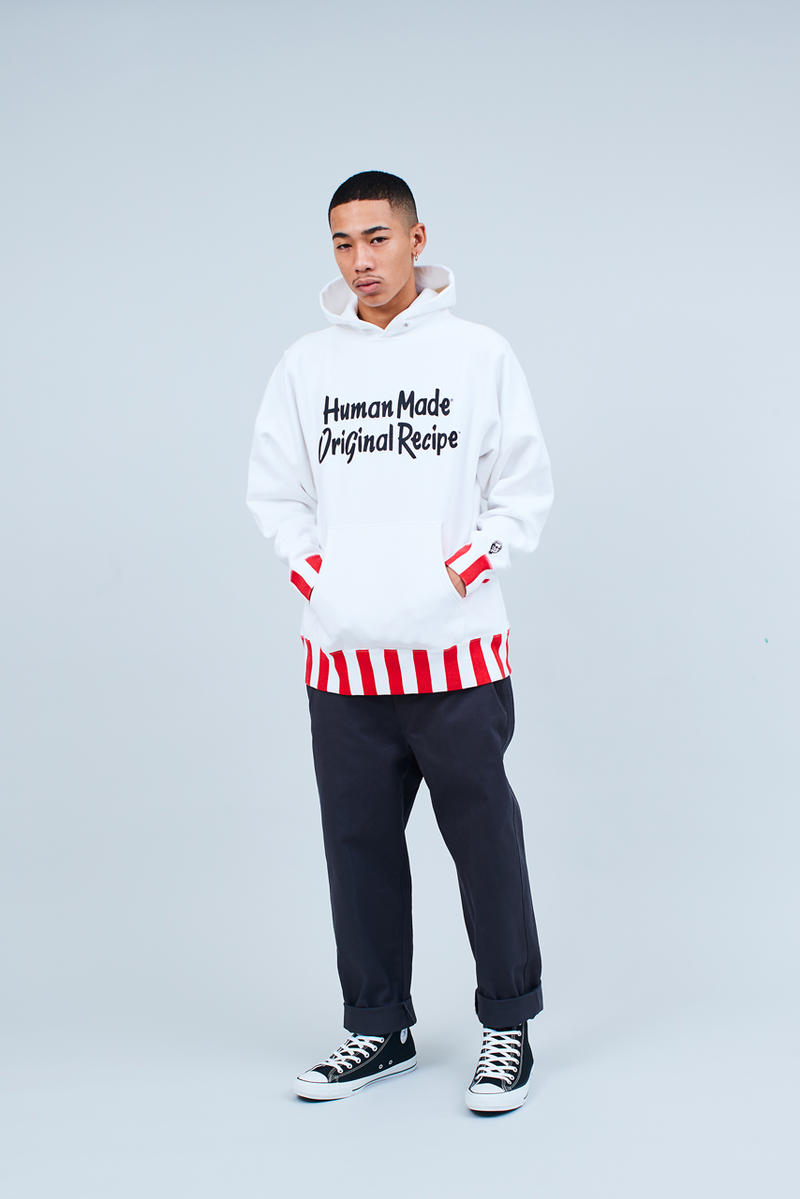 A Closer Look at Nigo's Human Made x KFC Collab kentucky fried chicken the colonel red white black hoodie jacket t-shirt cap tote