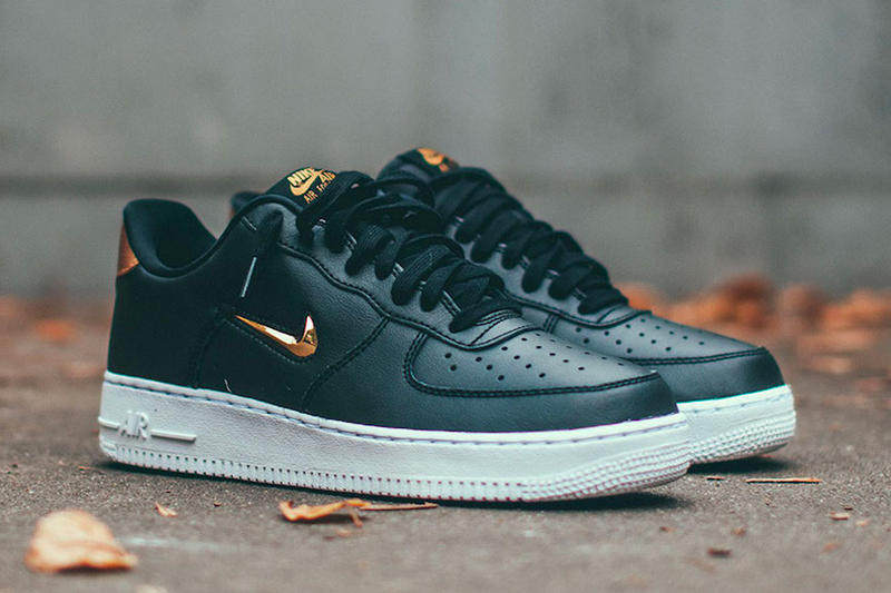 "Nike Air Force 1 '07 LV8 Jewel ""Metallic Gold"" release date info price available now sneaker black leather"