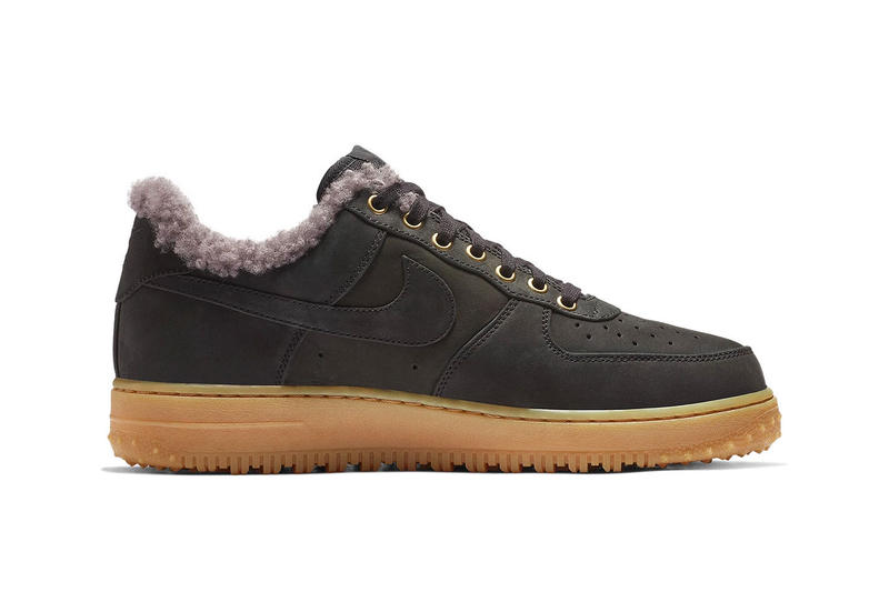 Nike Air Force 1 Low Premium Winter Release Info Date Black Thunder Blue Gum Light Brown colorway sneaker