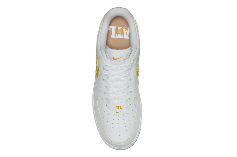 """Nike Air Force 1 Low """"The Dirty"""" ATL colorway embroidery white gold release date info price sneaker"""