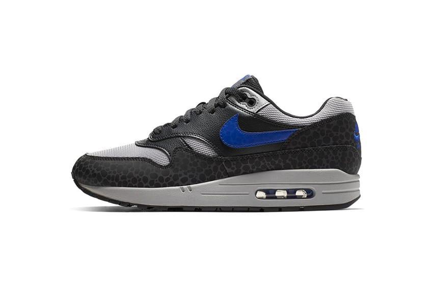 Nike Air Max 1 Black/Blue Safari Print