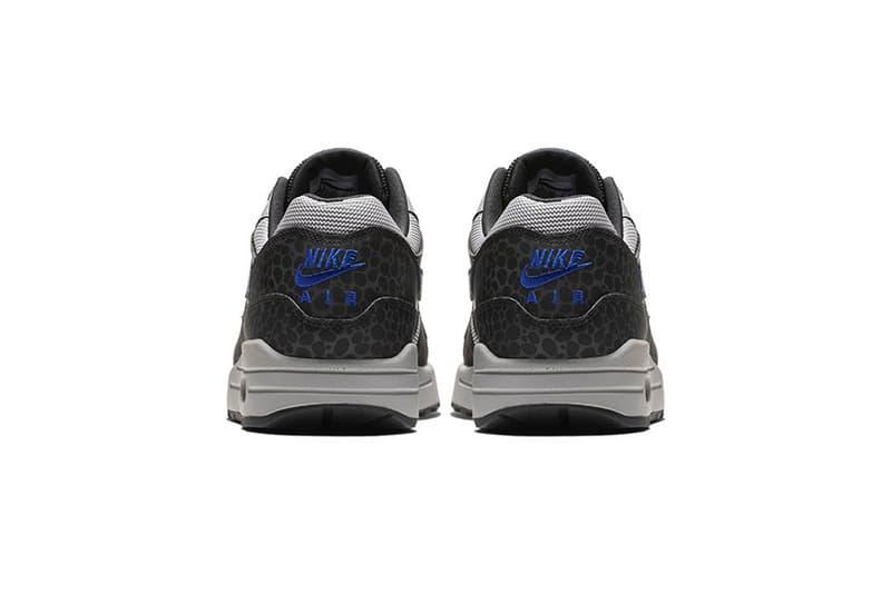 Nike Air Max 1 Black/Blue Safari Print release date sneaker colorway info