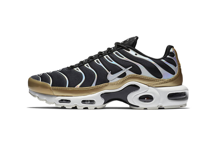 new product f7dc7 faf6a Nike s Air Max Plus Flexes Iridescent Silver   Gold Accents