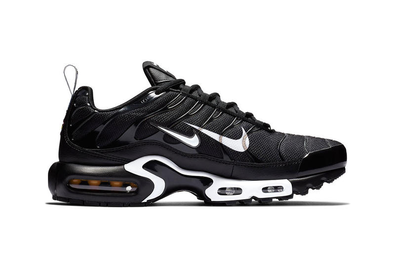 "Nike Air Max Plus ""Overbranded"" Double Swoosh black white colorway sneaker series pack logo price info release date"