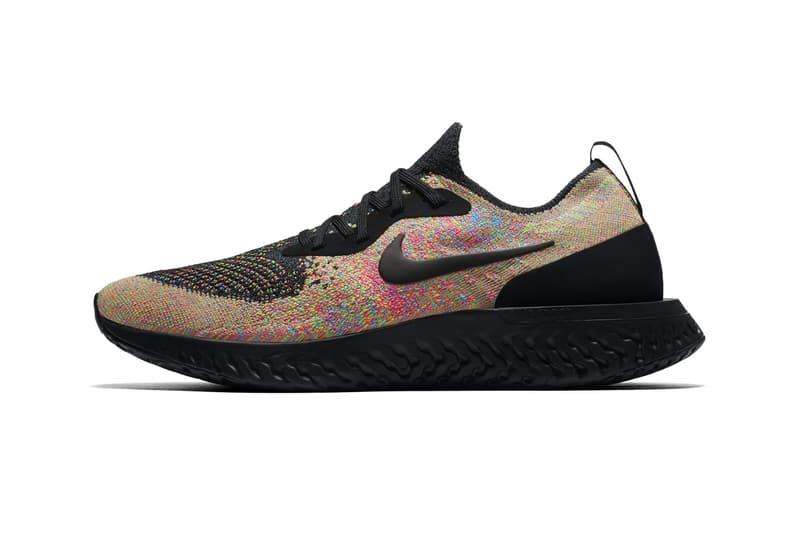 a389b2e54cf6 Nike Epic React Flyknit Multicolor Black Volt Blue Glow Release Info Date