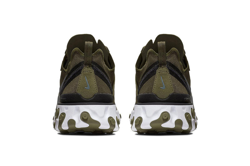"Nike React Element 55 ""Olive"" Release Info price date sneaker colorway military green november december 2018"
