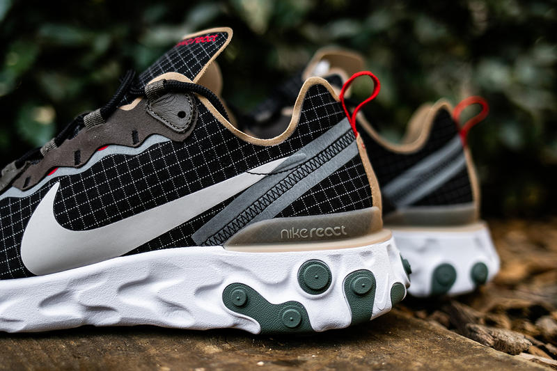 size? Exclusive x Nike React Element 55 Closer First Look Sneakers Shoes Trainers Kicks Cop Purchase Buy Available Now Online In-Store Details Detailed escape pack grid