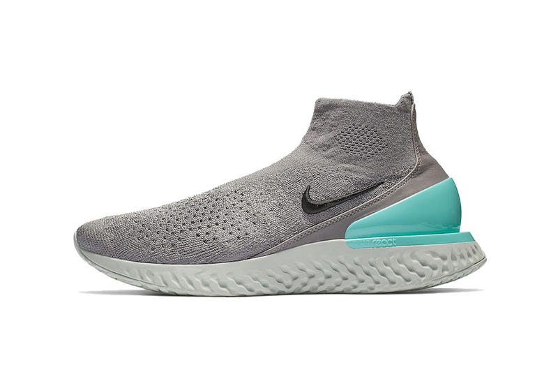 e5112781d7bf nike rise react flyknit gunsmoke black dark stucco aurora green