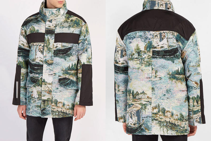 Off-White™ Édouard Manet Painting Outerwear Resort 2019 Printed packable hood poncho Lake print panelled parka