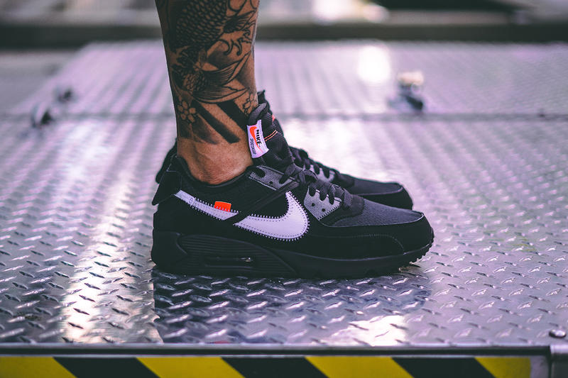 size 40 52f94 2d2b3 off white nike air max 90 black cone white collaboration sneaker on foot  release date info