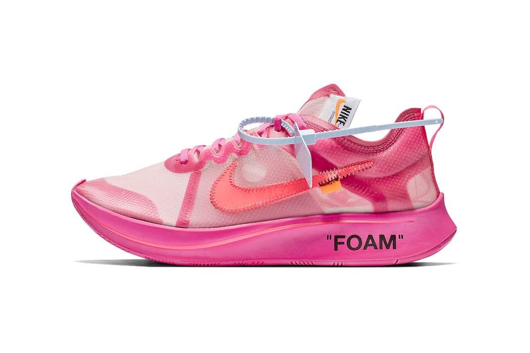 Off,White™ x Nike Zoom Fly \u0027Tulip Pink\u0027 and \u0027Black\u0027