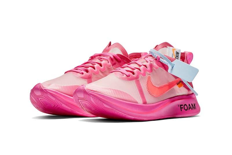 off white nike zom fly tulip pink black 2018 november footwear virgil abloh