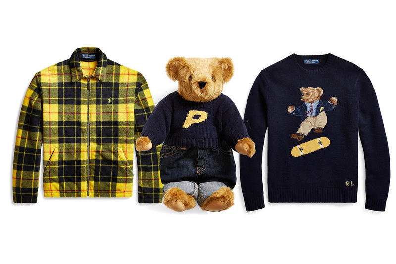 Palace x polo Ralph Lauren Retail Price List collection collaboration polo bear sweatshirt resell teddy bear fleece jacket cap skate deck t shirt pajama shirt pants chinos button down