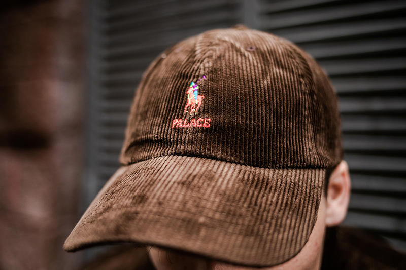 Palace Skateboards x Polo Ralph Lauren London Streetsnaps Fashion Clothing Street-Style Collab Collaboration Closer Look Bear Kickflip Puffa Jacket Corduroy Deck Skatijg