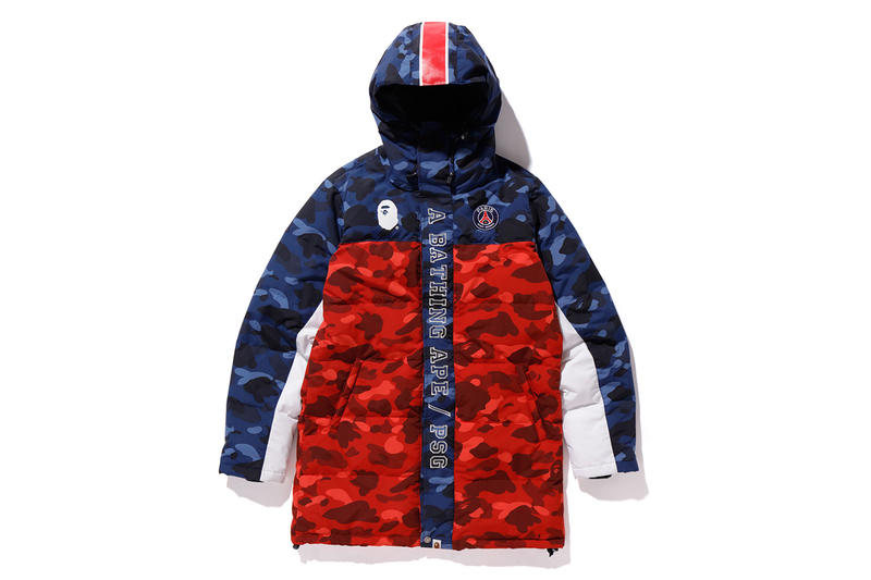 d6e59125eaf bape psg paris saint germain capsule collection collaboration red blue  camouflage down puffer jacket coat ape