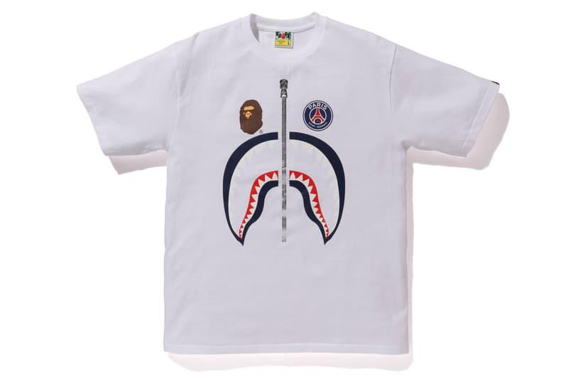 bape psg paris saint germain capsule collection collaboration white shark head logo print tee shirt