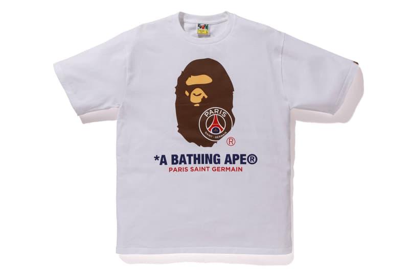 bape psg paris saint germain capsule collection collaboration ape head logo white tee shirt print