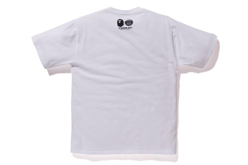 bape psg paris saint germain capsule collection collaboration white ape head tee shirt logo
