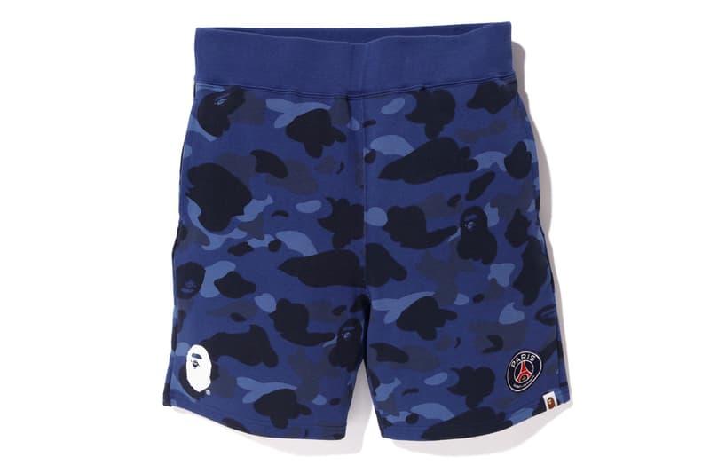 bape psg paris saint germain capsule collection collaboration camouflage shorts blue ape head sweat pants