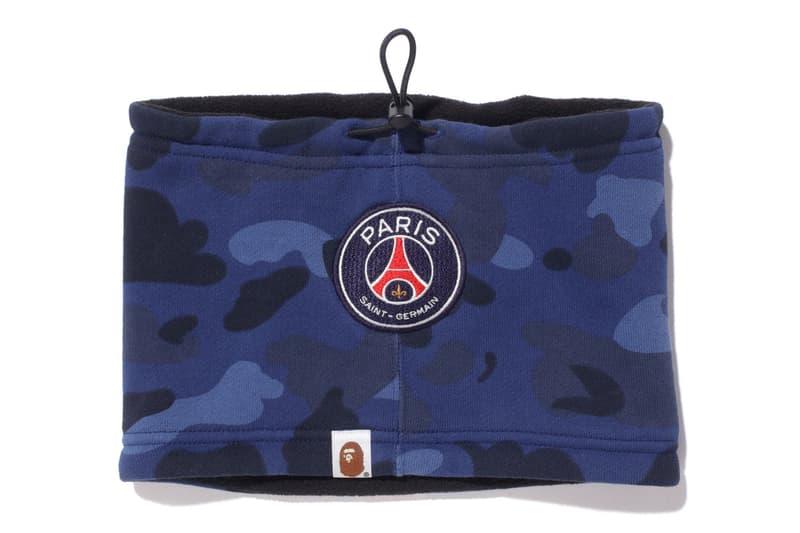 bape psg paris saint germain capsule collection collaboration camouflage neck warmer sport accessory blue black camouflage fleece