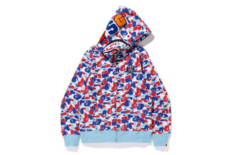 bape psg paris saint germain capsule collection collaboration white blue camouflage zip up shark head hoodie