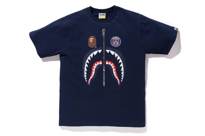 bape psg paris saint germain capsule collection collaboration shark face head tee shirt black logo print