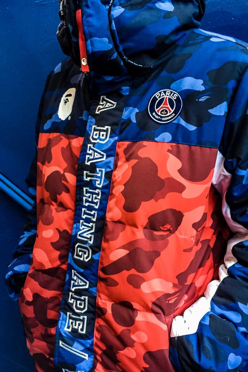 4cfba4cfa3f8 Paris Saint-Germain x BAPE a bathing ape Collaboration collection jacket  capsule red blue