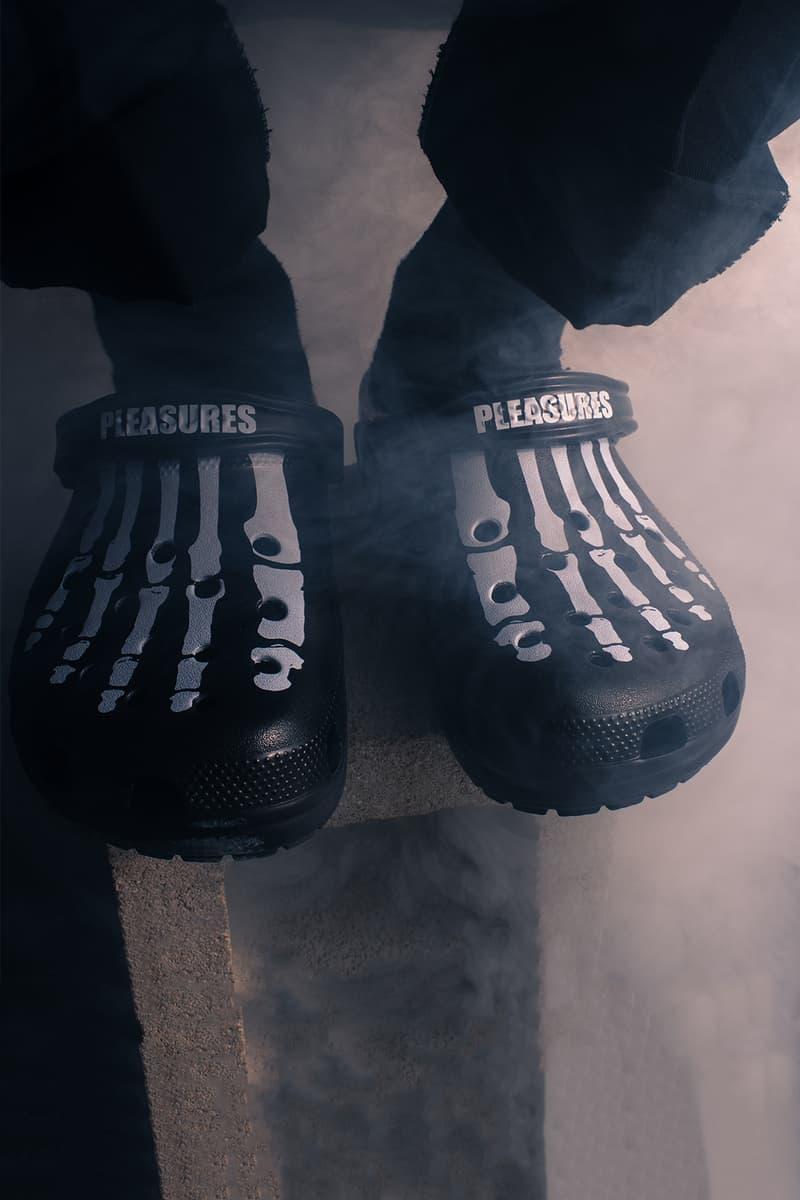 PLEASURES x Crocs Collaboration Release Date black white 2019 footwear sneakers bones graphics skeleton open-toe summer rubber