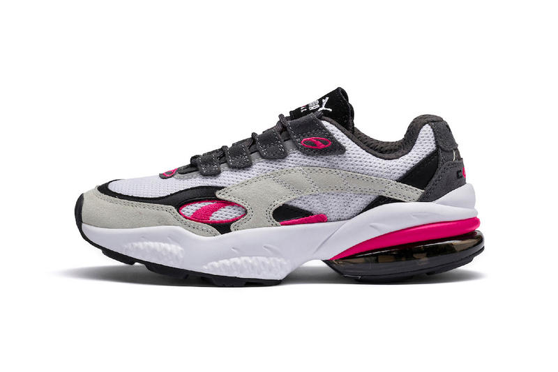 "PUMA cell venom model reissue Release Date November 2018 ""White/Surf the Web"" ""White/Fuchsia"" sneaker mesh suede leather"