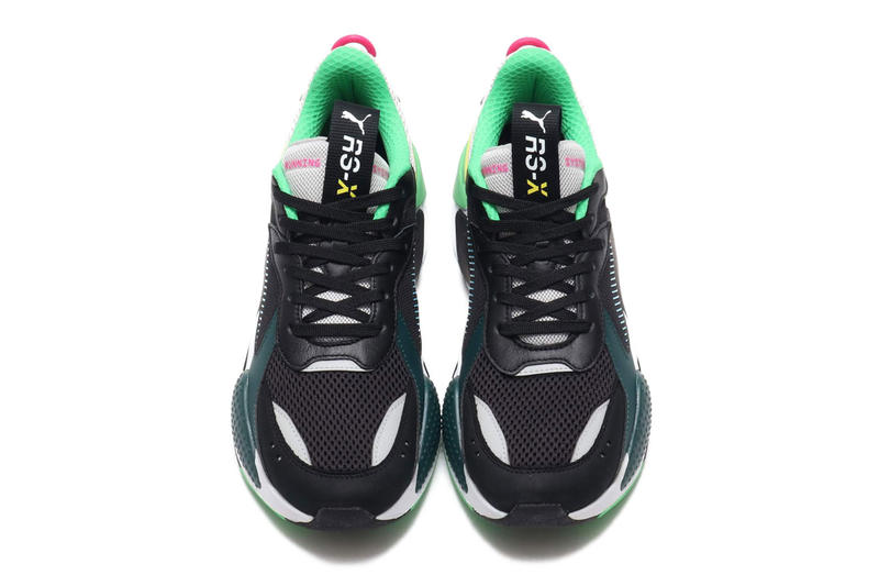 Puma RS-X Toys Black Colorway Sneaker Details Shoes Trainers Kicks Sneakers Footwear Cop Purchase Buy Available Online Now teal pink white grey gray blue green