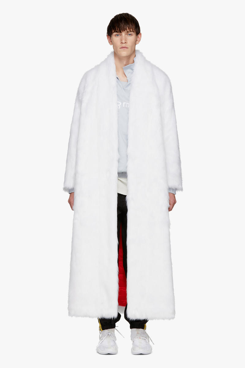 Reebok by Pyer Moss SSENSE Exclusive White Faux Fur Coat Jacket Details Fashion Clothing