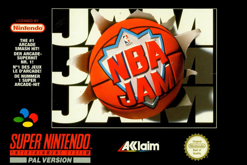 Original NBA Jam Cover Art Basketball gaming arcade logos retro nostalgic NBA sports Jordan Gaming Super nintendo Midway