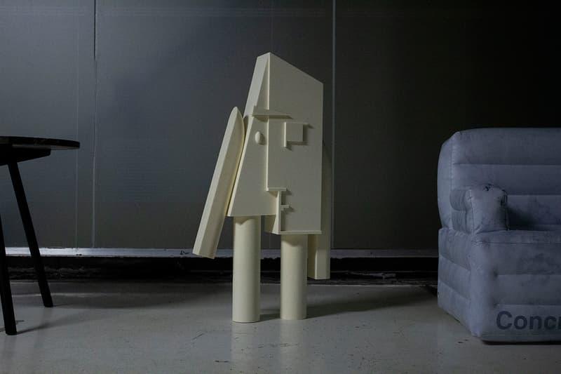 Samuel Ross Concrete Objects Inflatable Furniture Sculpture Collection Preview Design Jobe Burns Statue Figure Chair Design