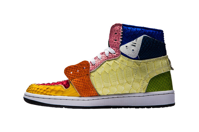 "the shoe surgeon air jordan 1 off white ""Lux"" Flower takashi murakami gift j balvin collaboration custom bespoke python leather sneaker rainbow artwork november 17 2018 release date drop info buy"