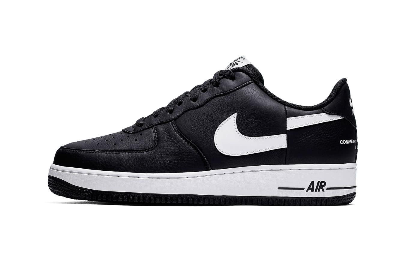 Supreme CdG Nike Air Force 1 Split Swoosh Release Date black white Info COMME des GARÇONS Shirt pricing details sneaker black white