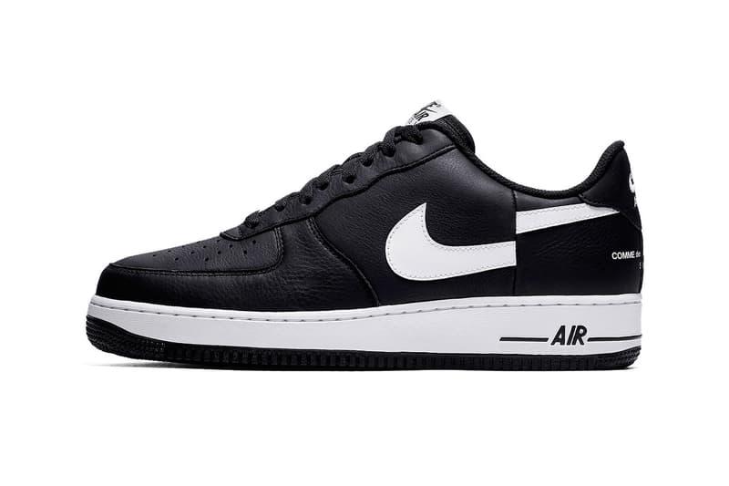 size 40 eb4a9 11445 Supreme CdG Nike Air Force 1 Split Swoosh Release Date black white Info COMME  des GARÇONS