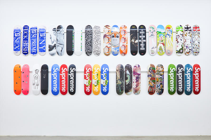 076996fe supreme skateboard deck inferno exhibition jason vass gallery stockx  sothebys collection complete entire every print graphic