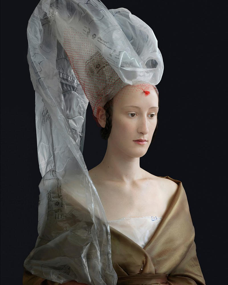 Suzanne Jongmans Recycled Renaissance Outfits materials plastic art bubble wrap art kindred spirits mind over matter