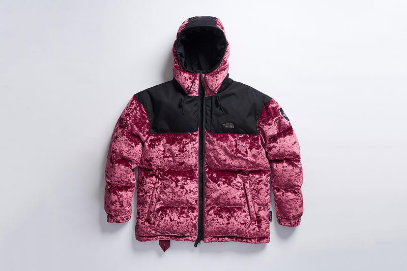 The North Face Black Series Velvet Collection release date information details drop mens womens nuptse puffer jacket sweat pants pullover sweater shirt blue red pink black white november 28 williamsburg new york prototype store exclusive