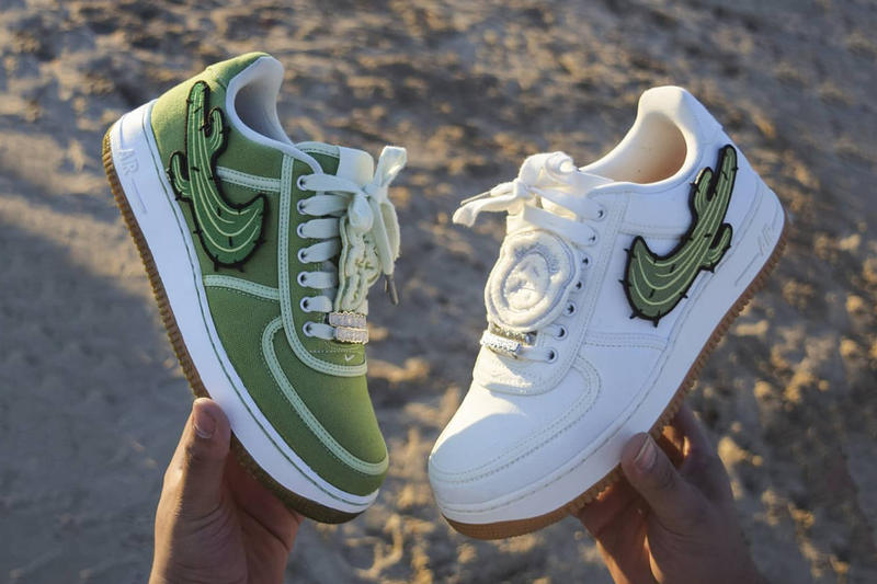 travis scott air force 1 cactus jack sneaker custom white green patch bespoke handmade logo outsole
