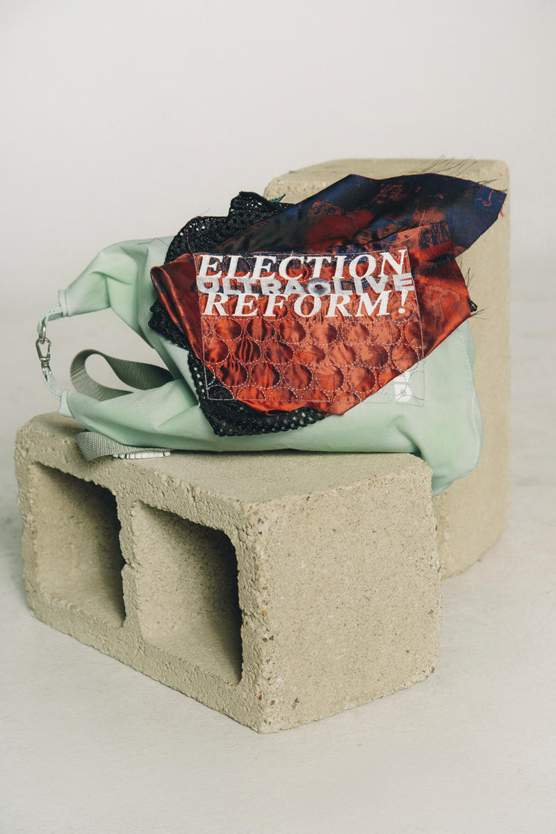 ULTRAOLIVE x Election Reform! Voting Collection midterm election Brendan Fowler recycled secondhand material diy bags hats accessories embroidery
