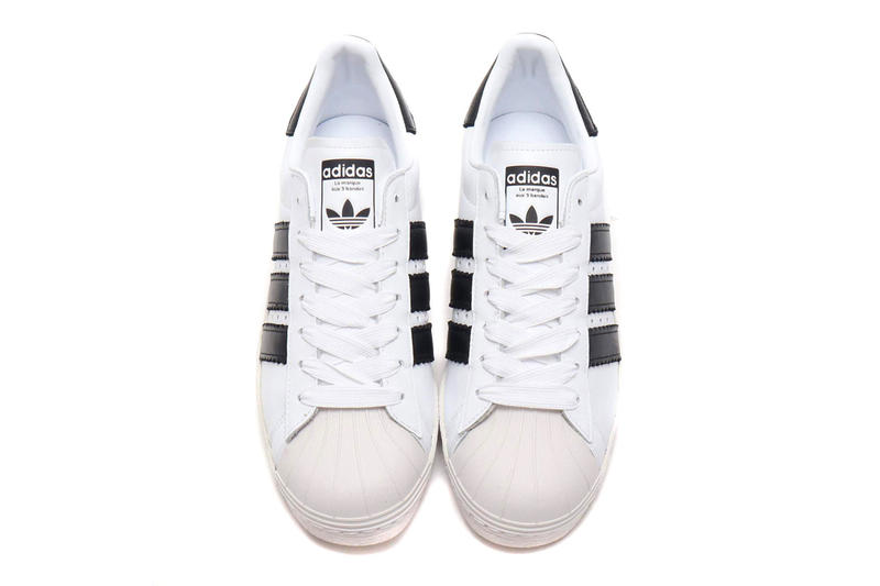 adidas Superstar 80s Enlarged Stripes atmos Running White/Core Black/Crystal White Core Black/Running White/Core Black Release Info price info sneaker colorway purchase stockist