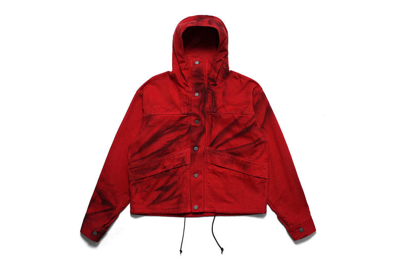 424 fairfax four two red painted parka cropped jacket hood fall winter 2018 coat giveaway