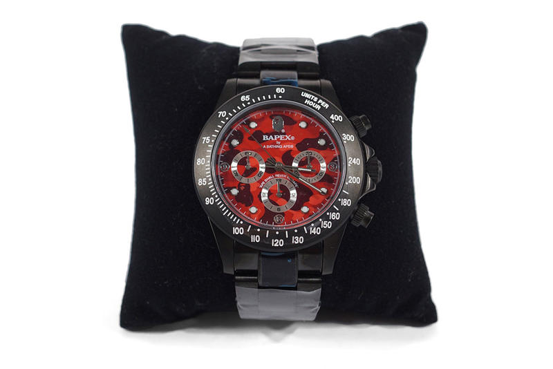 bape bathing ape type 3 watch red black colorway first camouflage print pattern face case